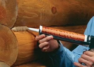 фото Герметик для трещин в брусе