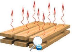 Стрелками указан процесс испарения лишней влаги из древесины