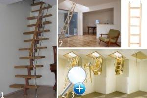 Возможные вариации лестниц на чердак